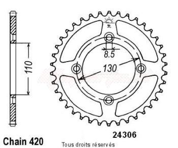 Product image: Sifam - 24306AZ49 - Chain wheel rear Honda 80/85 Cr 1986-2004 Type 420/Z49