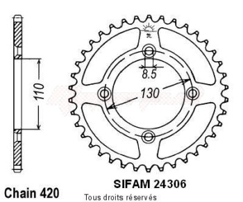 Product image: Sifam - 24306AZ50 - Chain wheel rear Honda 80/85 Cr 1986-2004 Type 420/Z50