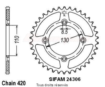 Product image: Sifam - 24306AZ54 - Chain wheel rear Honda 80/85 Cr 1986-2004 Type 420/Z54