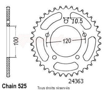 Product image: Sifam - 24363CZ40 - Chain wheel rear Rsv 1000 R 04-   Type 525/Z40