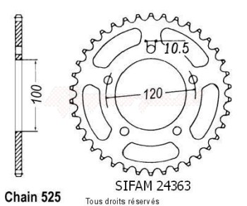Product image: Sifam - 24363CZ41 - Chain wheel rear Sl 1000 Falco 99-00   Type 525/Z41