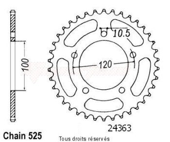 Product image: Sifam - 24363CZ42 - Chain wheel rear Rsv1000 98-99 Type 525   Type 525/Z42
