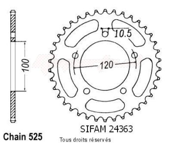 Product image: Sifam - 24363CZ44 - Chain wheel rear Aprilia 750 Shiver   Type 525/Z44