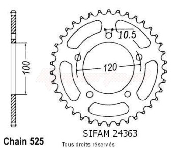 Product image: Sifam - 24363CZ46 - Chain wheel rear Aprilia 750 Dorsoduro   Type 525/Z46