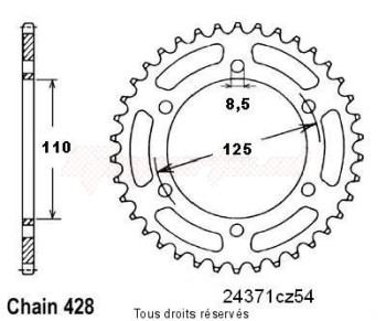 Product image: Sifam - 24371CZ54 - Chain wheel rear Beta 50 Rk6 94-98   Type 428/Z54