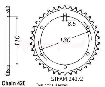 Product image: Sifam - 24372CZ46 - Chain wheel rear Tzr 125 R 94-96   Type 428/Z46