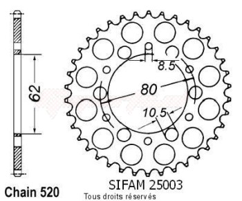 Product image: Sifam - 25003CZ45 - Chain wheel rear Sr 250 Se 79-84 Xt 250 80-83 Type 520/Z45