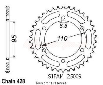 Product image: Sifam - 25009CZ45 - Chain wheel rear 125 Elefantre 84-88   Type 428/Z45
