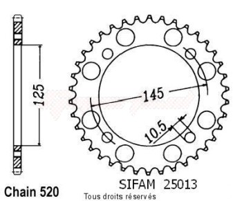 Product image: Sifam - 25013CZ40 - Tandwiel Achter Xt 600 4 Valv 85-86
