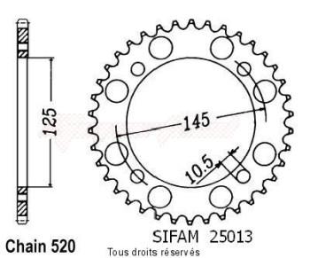 Product image: Sifam - 25013CZ43 - Chain wheel rear Xt 600 85-86 Xtz 600 Tenere 85-89 Type 520/Z43