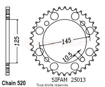 Product image: Sifam - 25013CZ46 - Chain wheel rear Xtz 660 96-98   Type 520/Z46