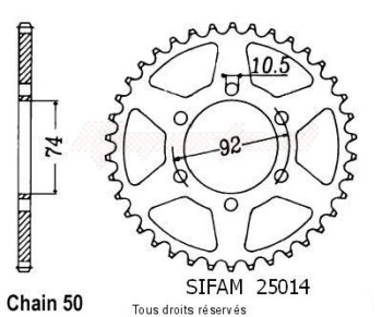 Product image: Sifam - 25014CZ45 - Chain wheel rear Xj 400 82 Xj 550 R 81-85 Type 530/Z45