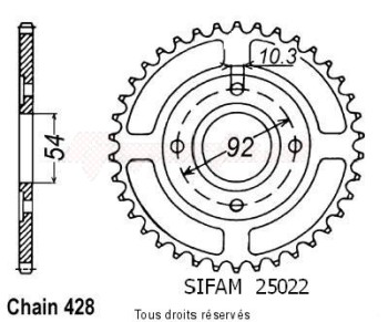 Product image: Sifam - 25022CZ45 - Chain wheel rear Rd 125 Lc2 85-88 Tzr 125 87-93 Type 428/Z45