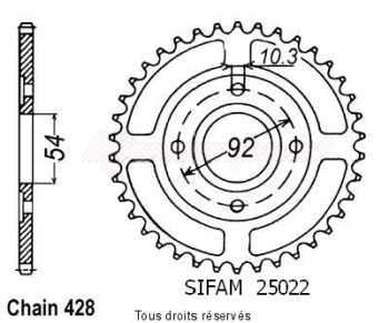 Product image: Sifam - 25022CZ46 - Chain wheel rear Rd 125 Lc1 82-84   Type 428/Z46