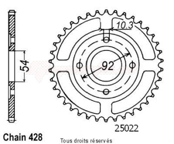 Product image: Sifam - 25022CZ49 - Chain wheel rear Sr 125 91-98   Type 428/Z49