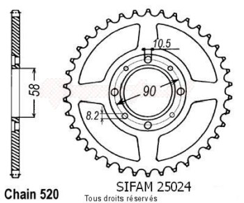 Product image: Sifam - 25024CZ53 - Chain wheel rear Mtx 125 R 83-94   Type 428/Z53