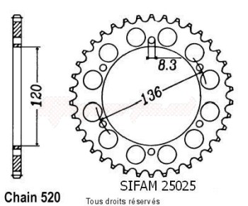 Product image: Sifam - 25025CZ37 - Chain wheel rear Srx 600 86-94   Type 520/Z37