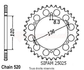 Product image: Sifam - 25025CZ39 - Chain wheel rear Rd 350 Lc 93-95 Szr 660 96-98 Type 520/Z39