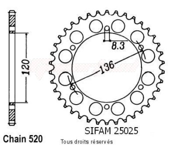 Product image: Sifam - 25025CZ41 - Chain wheel rear Tzr 250 87-93   Type 520/Z41