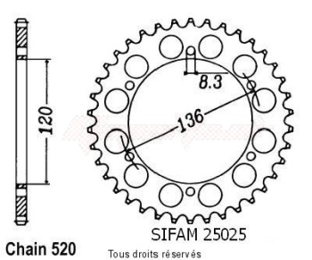 Product image: Sifam - 25025CZ45 - Chain wheel rear Tdr 250 88-90   Type 520/Z45