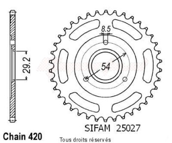 Product image: Sifam - 25027CZ35 - Chain wheel rear Z 50 Monkey 80-85   Type 420/Z35