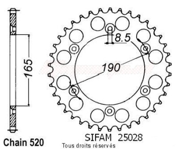 Product image: Sifam - 25028AZ48 - Chain wheel rear KTM 125/250/500 1985-1989 Type 520/Z48