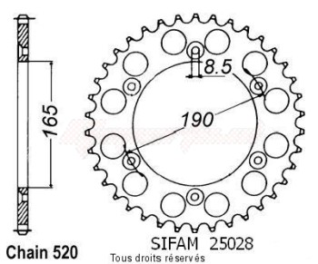 Product image: Sifam - 25028AZ50 - Chain wheel rear KTM 125/250/500 1985-1989 Type 520/Z50