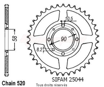 Product image: Sifam - 25044CZ31 - Chain wheel rear Cb 250 N Two Fifty 92   Type 520/Z31