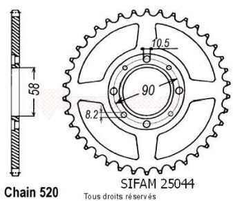Product image: Sifam - 25044CZ33 - Chain wheel rear Nsr 125 87-89   Type 520/Z33