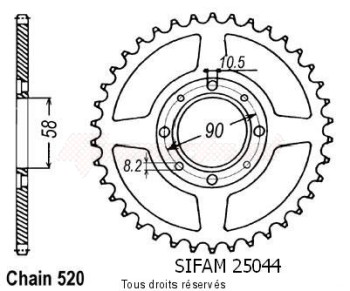Product image: Sifam - 25044CZ35 - Chain wheel rear Mbx 125 F 84-85   Type 520/Z35