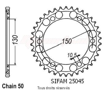 Product image: Sifam - 25045CZ46 - Chain wheel rear Fzr 750 R 89-92   Type 530/Z46