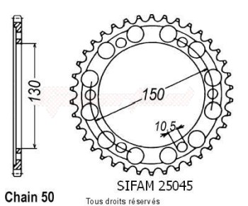 Product image: Sifam - 25045CZ47 - Chain wheel rear Fzr 600 R 94-98 Yzf 600 Thunder Cat 96-98 Type 530/Z47