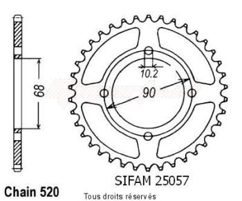 Product image: Sifam - 25057CZ42 - Chain wheel rear Mtx 200 Rw 83-86   Type 520/Z42