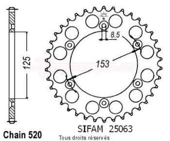 Product image: Sifam - 25063AZ45 - Chain wheel rear Honda 125/250/500 Cr Type 520/Z45