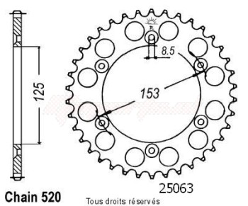 Product image: Sifam - 25063AZ48 - Chain wheel rear Honda 125/250/500 Cr Type 520/Z48