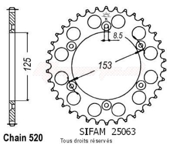 Product image: Sifam - 25063AZ49 - Chain wheel rear Honda 125/250/500 Cr Type 520/Z49