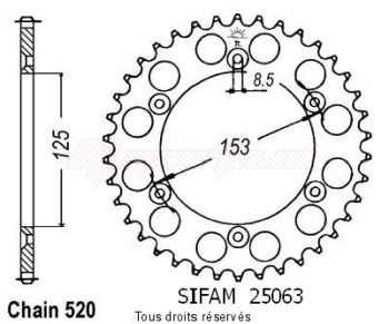Product image: Sifam - 25063AZ50 - Chain wheel rear Honda 125/250/500 Cr Type 520/Z50