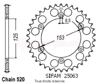 Product image: Sifam - 25063AZ53 - Chain wheel rear Honda 125/250/500 Cr Type 520/Z53