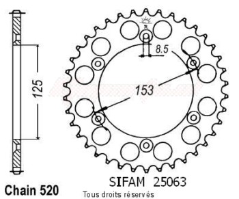 Product image: Sifam - 25063CZ45 - Chain wheel rear Honda 125/250/500 Cr Type 520/Z45