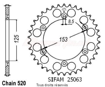 Product image: Sifam - 25063CZ49 - Chain wheel rear Honda 125/250/500 Cr Type 520/Z49