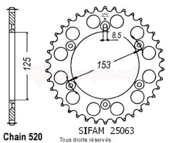 Product image: Sifam - 25063CZ52 - Chain wheel rear Honda 125/250/500 Cr Type 520/Z52