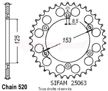 Product image: Sifam - 25063CZ53 - Chain wheel rear Honda 125/250/500 Cr Type 520/Z53