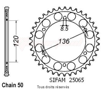 Product image: Sifam - 25065CZ38 - Chain wheel rear Rd 500 Lc 84-85   Type 530/Z38