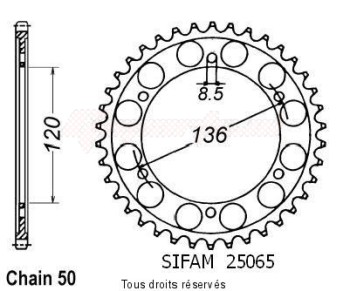 Product image: Sifam - 25065CZ45 - Chain wheel rear Fz 600 86-88   Type 530/Z45