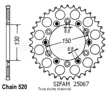 Product image: Sifam - 25067CZ43 - Chain wheel rear Slr 650 97-98   Type 520/Z43