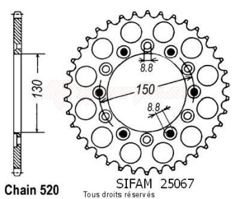 Product image: Sifam - 25067CZ50 - Chain wheel rear Xr 600 R 88-90   Type 520/Z50