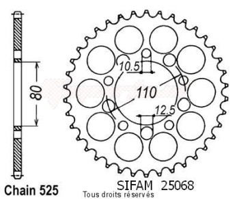 Product image: Sifam - 25068CZ36 - Chain wheel rear Cb 450 S/Dx 86-89 Gb 500 Club Man 91-93 Type 525/Z36