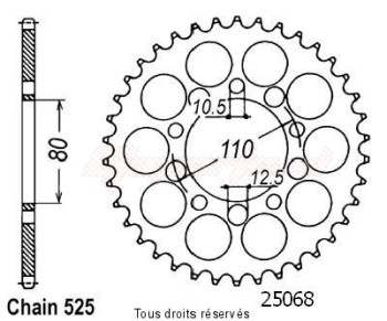 Product image: Sifam - 25068CZ44 - Chain wheel rear Vt 600 Shadow 89-04   Type 525/Z44