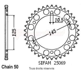 Product image: Sifam - 25069CZ43 - Chain wheel rear Fz 750 Genesis 87-93   Type 530/Z43