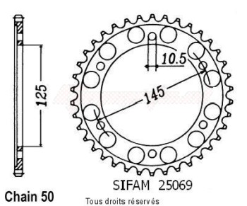 Product image: Sifam - 25069CZ44 - Chain wheel rear Fz 750 86-86   Type 530/Z44